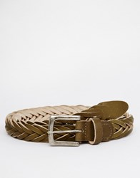 Asos Skinny Plaited Belt In Khaki Leather Khaki Green