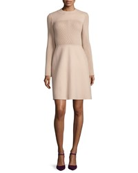 Valentino Long Sleeve Jewel Neck Sweater Dress Beige Women's Size 8