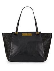 Elliott Lucca Laser Cut Leather Tote Black