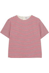 Red Valentino Striped Textured Cotton Blend Top