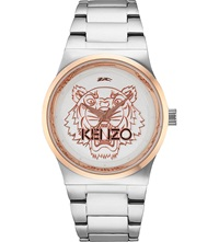 Kenzo 9600206 Stainless Steel Tiger Head Watch Silver