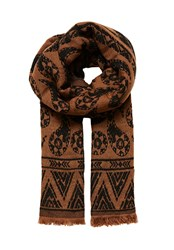 Hallhuber Double Layer Jacquard Scarf Beige