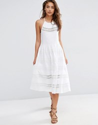 Asos Cotton Midi Sundress With Lace Inserts White