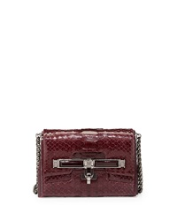 Kara Ross Lux Mini Python Clasp Crossbody Bag Bordeaux