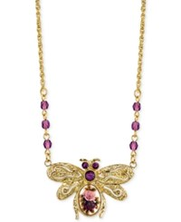 2028 Gold Tone Ornate Crystal Bee Pendant Necklace