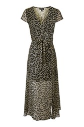 Topshop Petite Leopard Wrap Midi Dress Brown