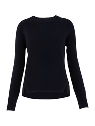 Whistles Ribbed Sleeve Cashmere Sweater Navy