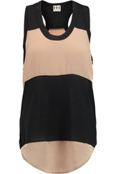 Haute Hippie Paneled Modal Jersey And Crepe Tank Black