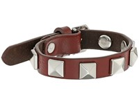Rebecca Minkoff Single Row Leather Bracelet With Pyramid Studs Tawney Port Rhodium Bracelet Brown