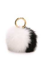 Iphoria Fur Pom Keychain Black White
