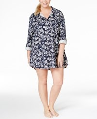 Lucky Brand Plus Size Three Quarter Sleeve Sleepshirt Navy Floral