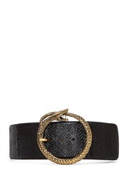 Saint Laurent Serpent Buckle Salmon Skin Belt Black