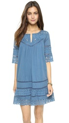 Love Sam Eyelet Cotton Voile Dress Denim