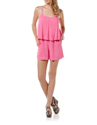 Candc California Flutter Overlay Romper Shocking Pink