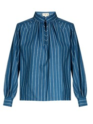 Trademark Hardin Striped Cotton Shirt Blue White