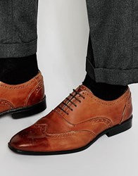 Asos Oxford Brogue Shoes In Brown Polish Leather Brown
