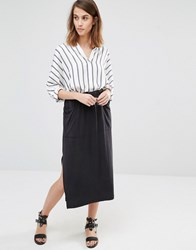 Warehouse Premium Fabric Tie Waist Skirt Dark Grey