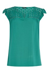 Roman Originals Lace Yoke T Shirt Green
