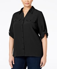 Ny Collection Plus Size Crepe Utility Blouse Black