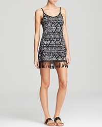 Becca By Rebecca Virtue African Beat Tribal Fringe Tank Swim Cover Up Dress Black White