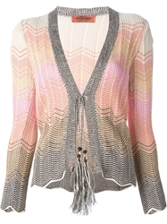 Missoni Vintage Crochet Knit Cardigan Pink And Purple