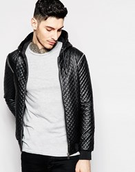 Eclipse Quilted Hooded Bomber Jacket Black