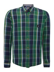 Duck And Cover Jobson Long Sleeve Large Check Shirt Bottle Green