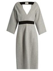 Maison Rabih Kayrouz V Neck Wool Dress Light Grey