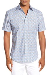 Men's Bugatchi Shaped Fit Floral Medallion Short Sleeve Sport Shirt