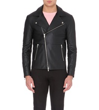 Reiss Montebello Leather Aviator Jacket Black