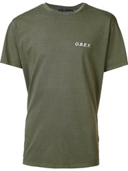 Obey Logo Print T Shirt Green