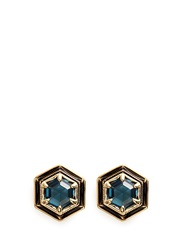 Lulu Frost 'Nicandra' Glass Crystal Stud Earrings Blue Metallic