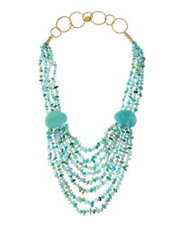 Devon Leigh Long Layered Multi Strand Beaded Necklace Green Blue Multi