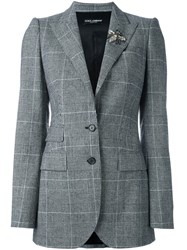 Dolce And Gabbana Prince Of Wales Check Blazer Grey