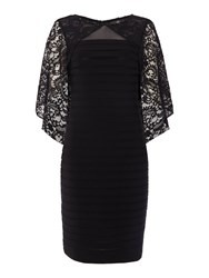 Adrianna Papell Pintuck Dress With Lace Cape Black