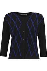 Pringle Argyle Knit Cashmere Cardigan Black