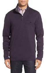 Ted Baker Men's Big And Tall London Funnel Neck Quarter Zip Pullover Deep Purple