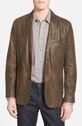 Missani Le Collezioni Trim Fit Lambskin Leather Sport Coat Brown