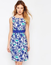 Yumi Uttam Boutique Tropical Bird Camo Pencil Dress Blue