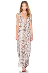 Indah Titanium Deep V Maxi Dress Gray