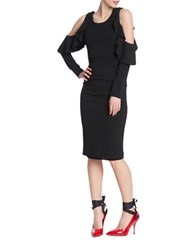 Tracy Reese Flounced Cold Shoulder Sheath Dress Black