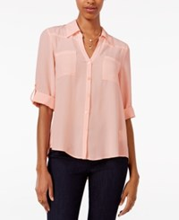 Amy Byer Bcx Juniors' Tab Sleeve Shirt Pink