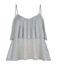 Claudie Pierlot Teuf Metallic Frill Top Female Grey