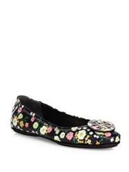Tory Burch Minnie Travel Floral Print Leather Ballet Flats Vilette