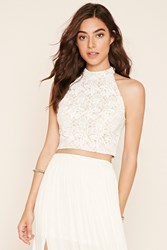 Forever 21 Floral Crochet Lace Crop Top
