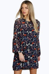 Boohoo Tie Neck Puff Sleeve Floral Shirt Dress Navy