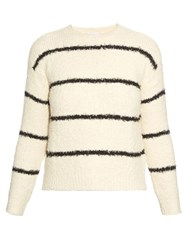 Brunello Cucinelli Striped Cotton Blend Boucle Knit Sweater White Stripe