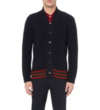 Gucci Cable Knit Wool Cardigan Ink
