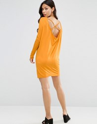 Asos Cowl Back Mini Dress With Strap Detail And Long Sleeve Mustard Yellow