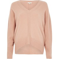 River Island Womens Pink Ribbed Panel Batwing Jumper